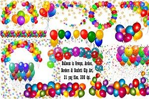 Balloon ClipArt Arches,Borders,Conf
