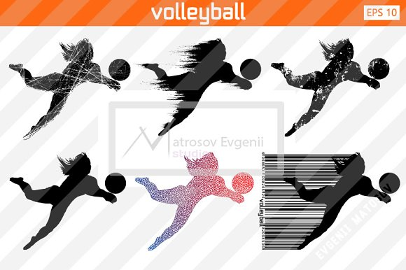 Silhouette Of A Volleyball P Set