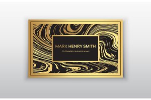 Vector golden marbling business card