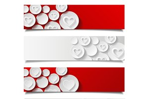 Set of abstract banners with hearts