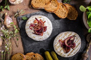 Grilled Camembert cheese