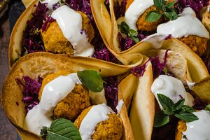 Falafel with herbs and cabbage