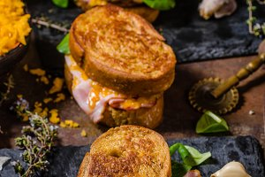 French toast with ham and cheese