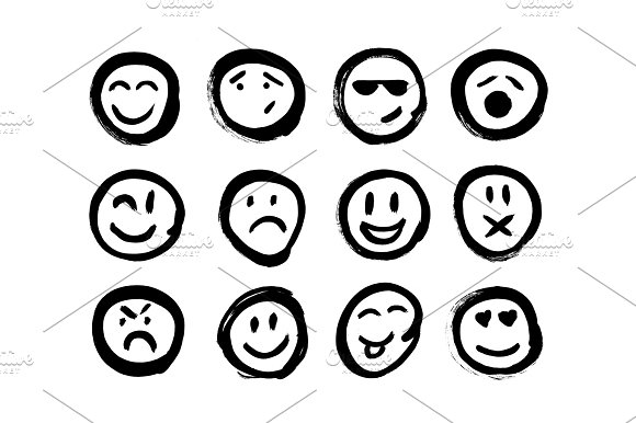 Set Of Emoticons Set Of Emoji Isolated Vector Illustration On White Background Collection Of Unique Hand Drawn Symbols