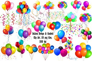 Group Balloons&Confetti ClipArt