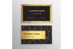 Luxury business card. Gold and black horizontal business card template design for personal or business use with front and back side.