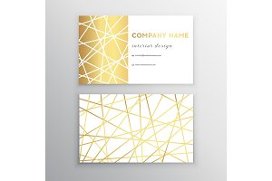 Luxury business card. Gold and white horizontal business card template design for personal or business use with front and back side.