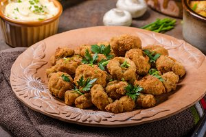 Breaded fried mushrooms