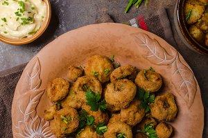 Breaded fried mushrooms