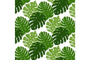 Vector tropical leaves seamless pattern. Hand painted illustration background