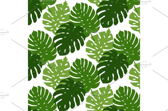 Vector Tropical Leaves Seamless Pattern Hand Painted Illustration Background