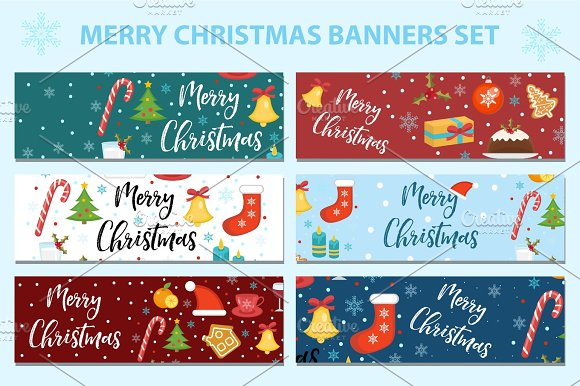 Merry Christmas Set Of Banners Template With Space For Text For Your Design Winter Holiday Collection Long Board Poster Flyer Flat Style Vector Illustration
