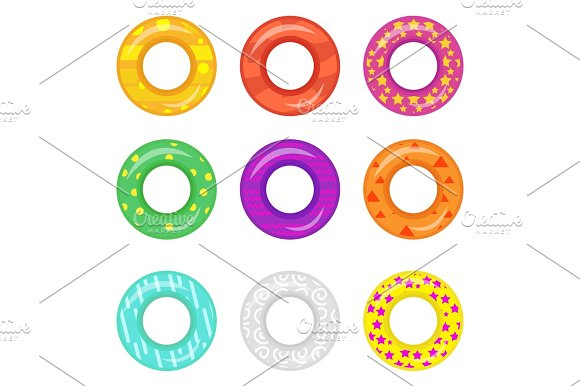 Lifebuoy Icon Set Rings For Swimming Collection.Flat Cartoon Style Isolated On White Background Vector Illustration