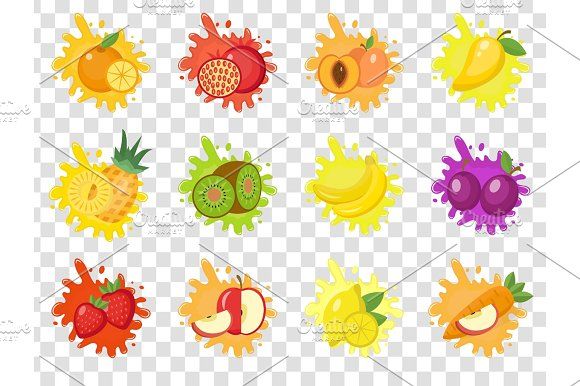Fruits Splash Set Of Labels Fruit Splashes Drops Emblem.Isolated On A Transparent Background Splash And Blot Kit Vector Illustration