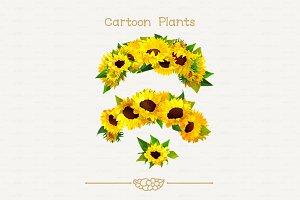 ♥ vector wreath sunflower