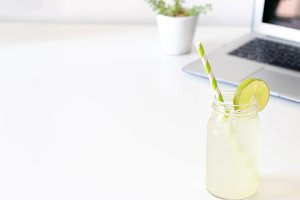 Lemonade & Laptop - Styled Photo