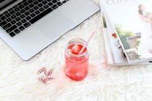 Strawberry Laptop Magazines Styled 2