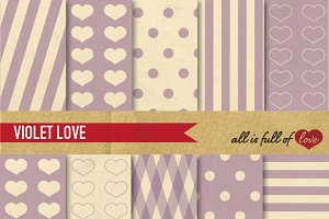 Lavender Patterns Vintage Paper Set