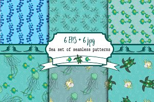 Sea set of seamless patterns