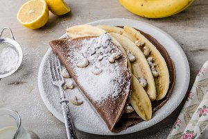 Chocolate crepes with banana