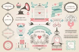 Valentines day design elements