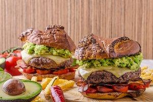Beef burger with avocado dip