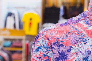 Close up of man shirt in the shopping mall. Bali island, Indonesia.