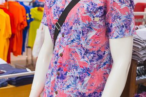 Man shirt on dummy. Shopping Mall. Bali island, Indonesia.