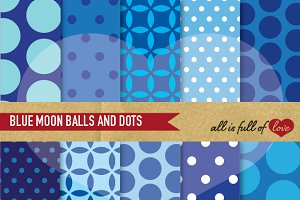 Blue Polka Dots Patterns Print