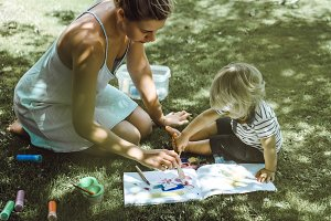 Mother and son paint