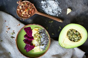Healthy breakfast with granola and avocado