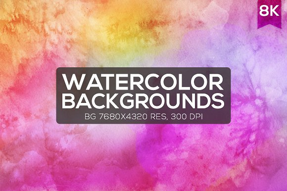 12 Watercolor 8K Backgrounds
