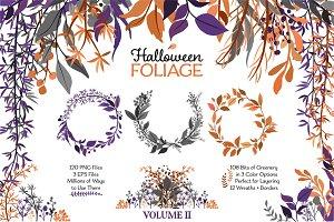 Halloween Wreath & Leaf Set