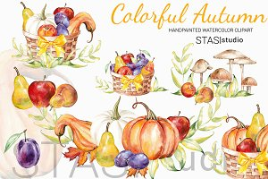 Thanksgiving Watercolor Clipart