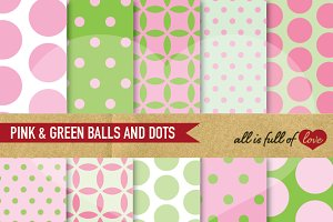 Pink Green Polka Dots Patterns