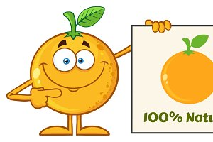 Smiling Orange Fruit Character