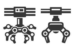 Robotic Claw Machine Icon Set