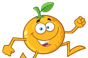 Funny Orange Fruit Running