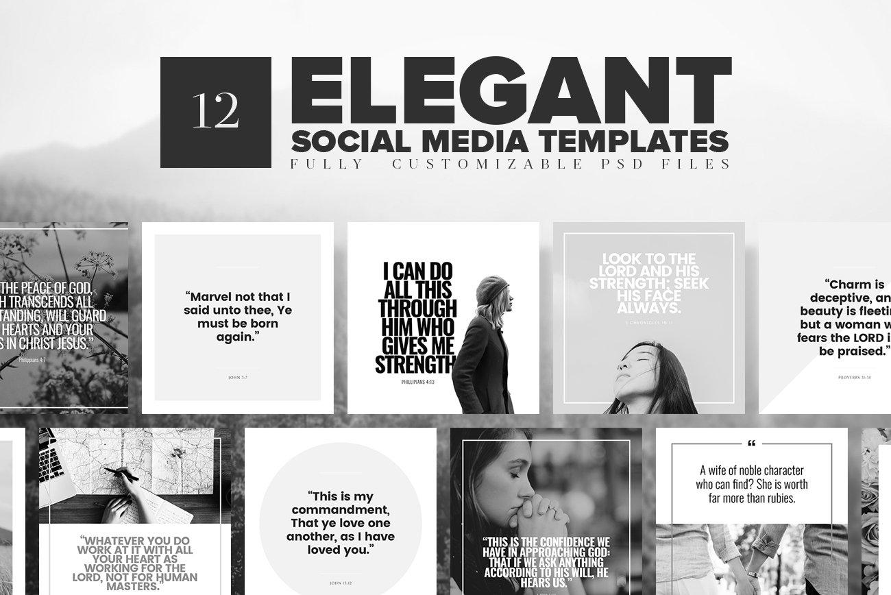 elegant social media templates instagram templates creative market. Black Bedroom Furniture Sets. Home Design Ideas