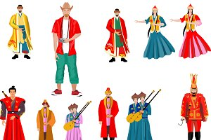 Vector people in traditional dress