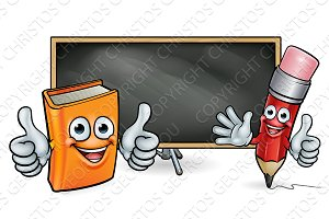 Book and Pencil Mascots and Blackboard