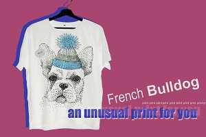 print French bulldog t-shirt