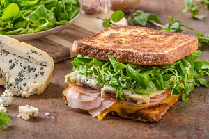 French toast blue cheese salad and ham