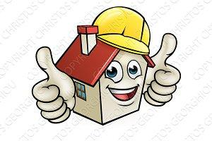 House Cartoon Mascot Character Wearing Hard Hat