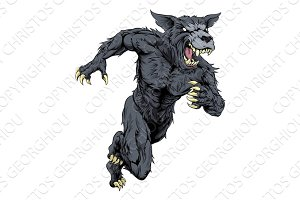 Wolf sports mascot or werewolf running