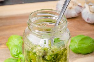 Homemade pesto of basil