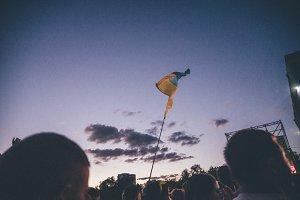 Ukrainian flag at music festival