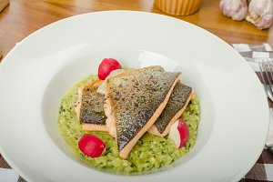 Roasted trout with risotto