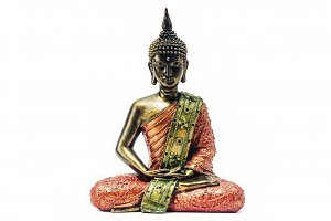 Isolated Buddha statue on white background
