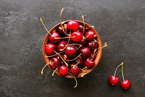 fresh cherry in a plate